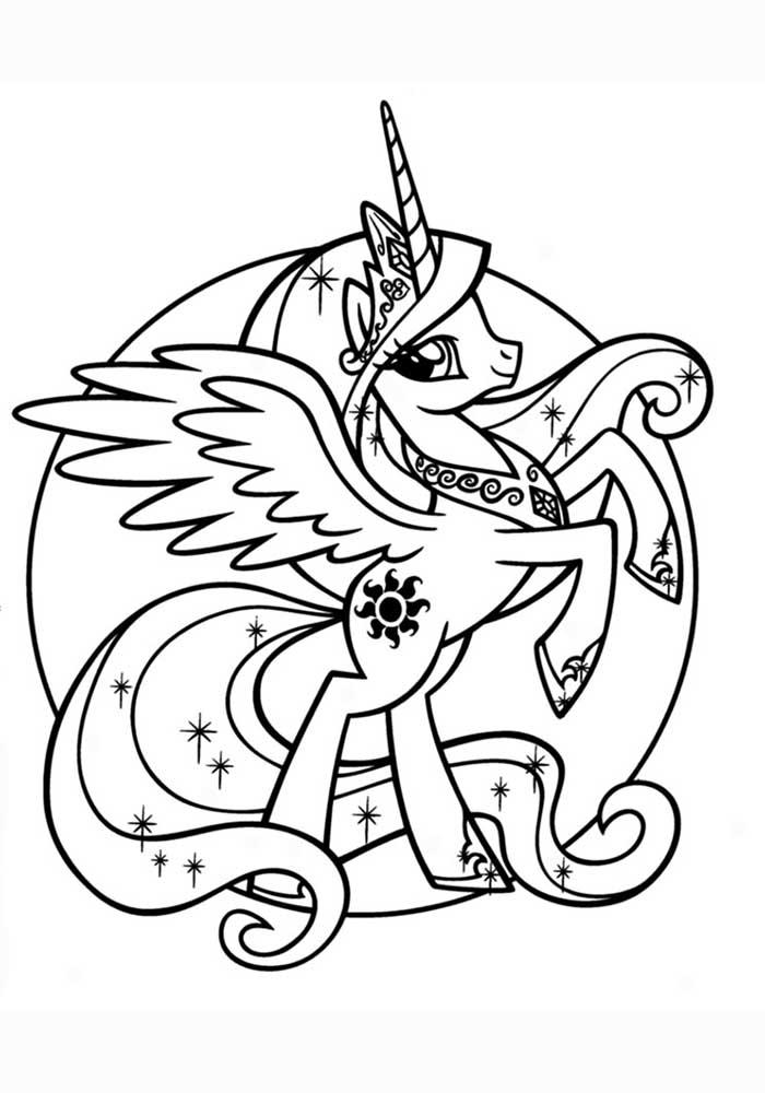 Раскраска принцесса Селестия из Май Литл Пони - распечатать