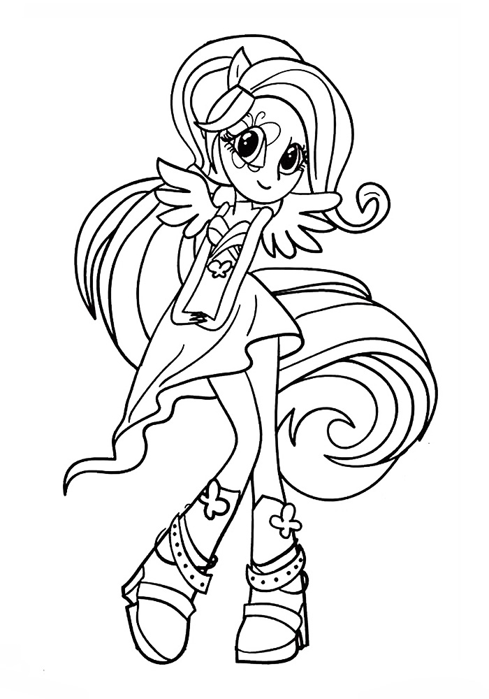 Raskraska Devochka Flattershay on my little pony fluttershy coloring pages