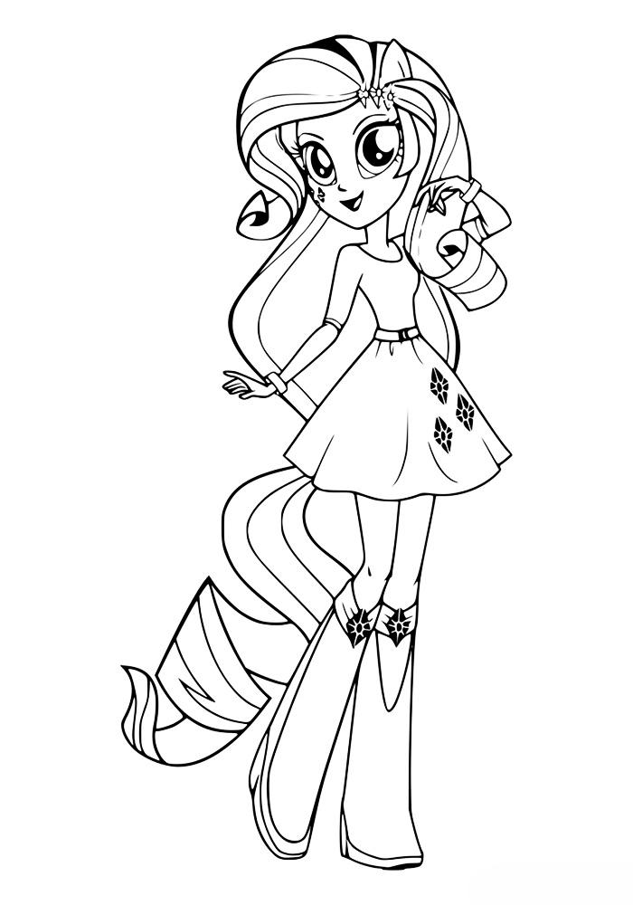 раскраска девочка рарити из май литл пони распечатать