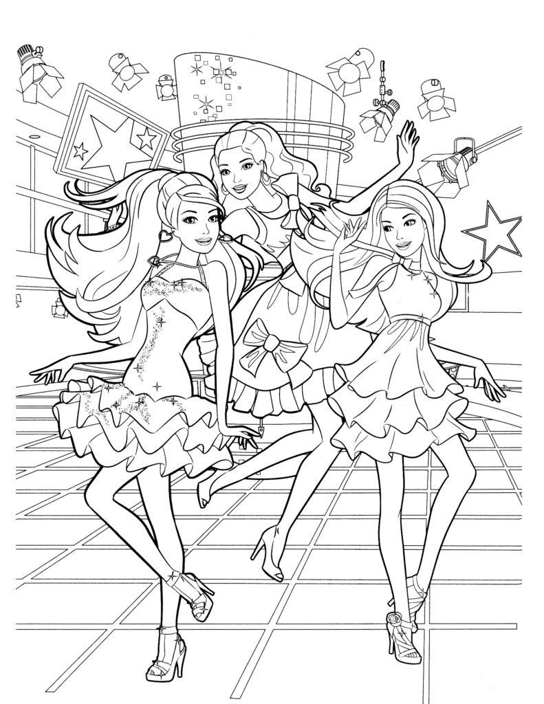 Раскраска Концерт Барби для девочек - распечатать ...