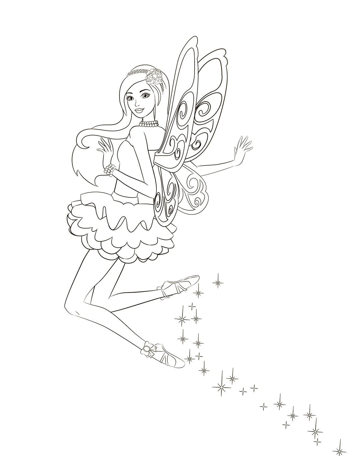 раскраска для девочек фея барби распечатать бесплатно
