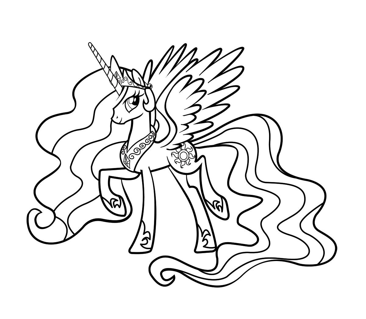 раскраска пони принцесса селестия распечатать