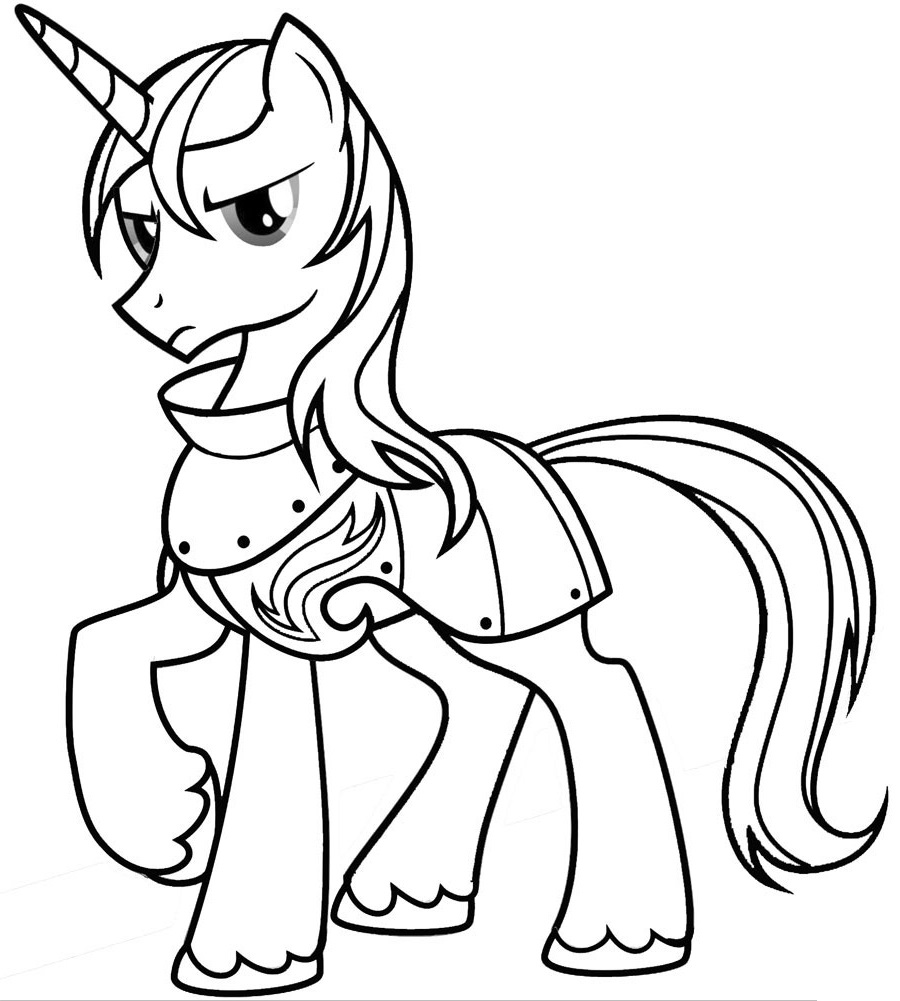 раскраска пони шайнинг армор из май литл пони распечатать