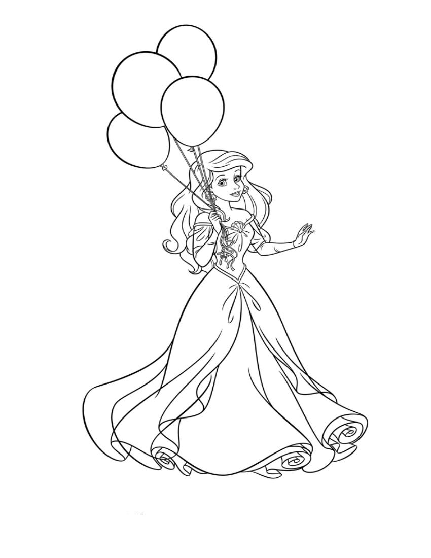 Раскраска Ариэль с воздушными шарами из Русалочки ...