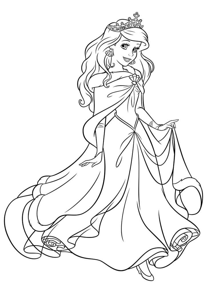Раскраска Принцесса Ариэль с короной - распечатать бесплатно