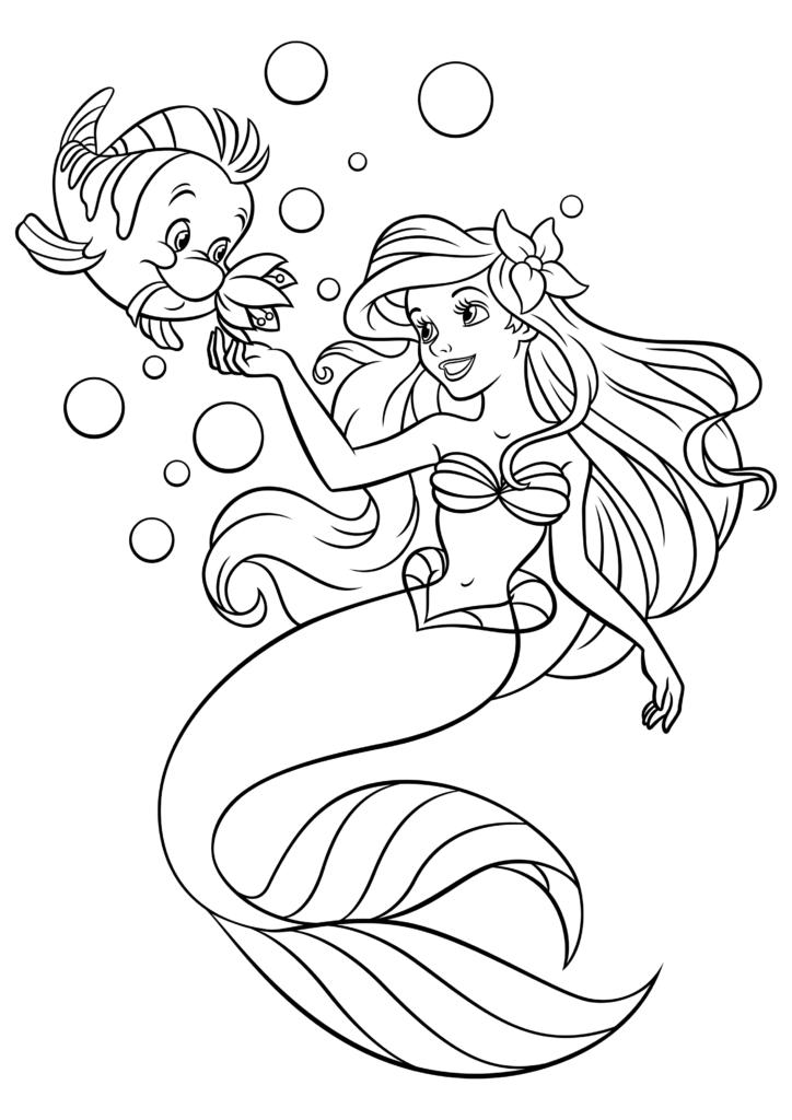раскраска принцесса ариэль плавает с флаундером