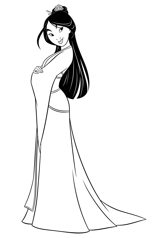 Раскраска Принцесса Мулан - распечатать в хорошем качестве ...