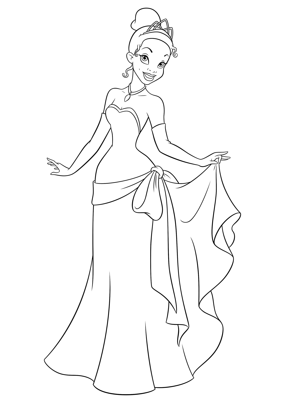 раскраска принцесса тиана в вечернем платье распечатать