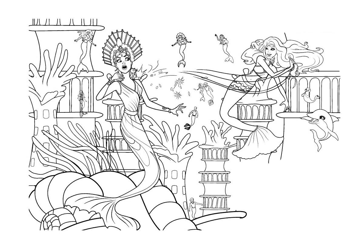Раскраска русалочка Барби защищает трон Океании ...
