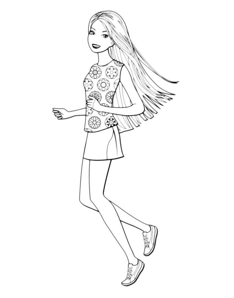 Раскраска Летняя прогулка Barbie - распечатать бесплатно в ...