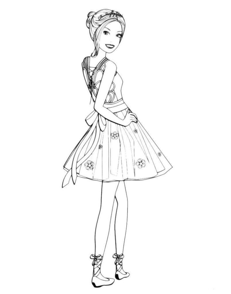 Раскраска Барби в коротком платье  распечатать в хорошем