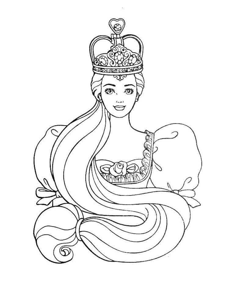 раскраска принцесса барби для девочек распечатать