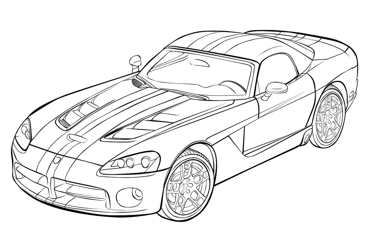 Раскраска для мальчиков машина Dodge - распечатать ...