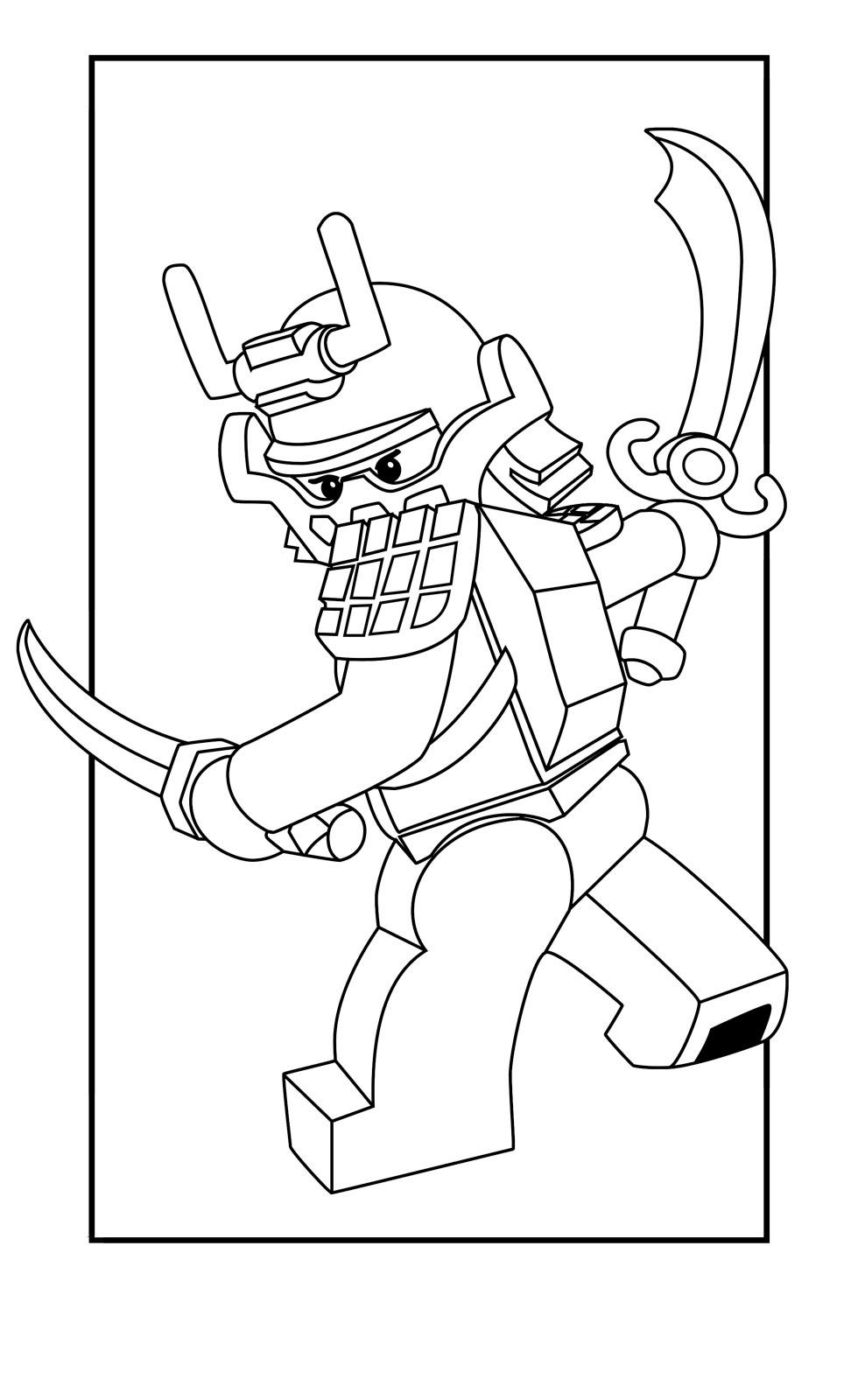 Раскраска ЛЕГО Ниндзяго Кай самурай - распечатать бесплатно