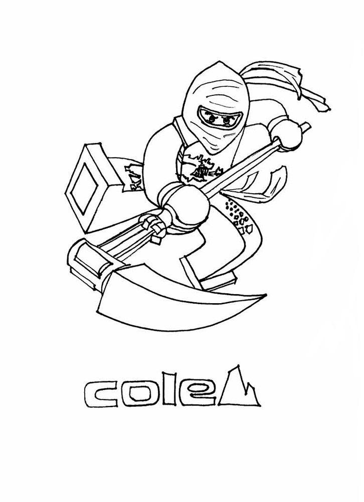 Раскраска Ниндзяго Коул для детей - распечатать бесплатно