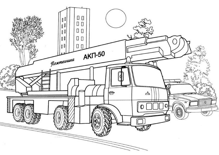 Раскраска для мальчиков Пожарная машина - распечатать ...