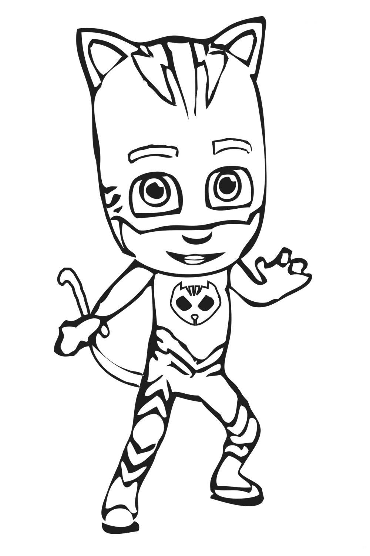 Раскраска Герои в масках Кэтбой - распечатать бесплатно