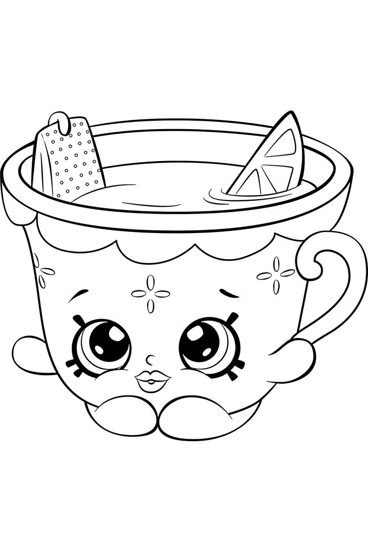 Раскраска Шопкинс Чай Мед и Лимон