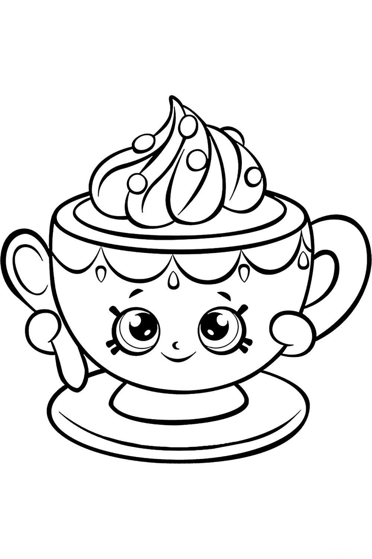 Раскраска Шопкинс Чайная чашка Тини - распечатать бесплатно