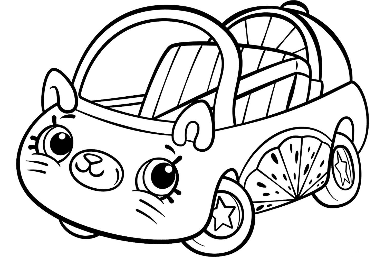 Раскраска Шопкинс Машинка Долька - распечатать бесплатно