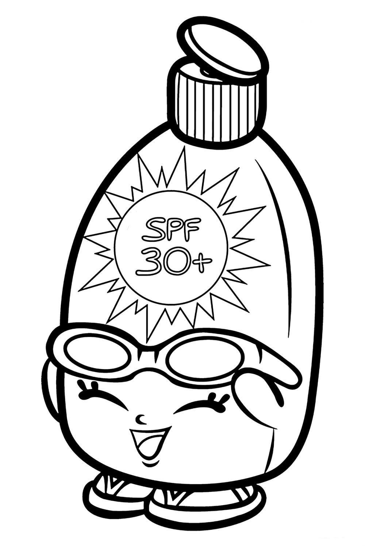 Раскраска Шопкинс Солнцезащитный крем