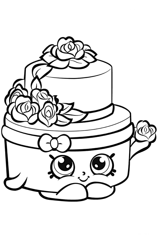 Раскраска Шопкинс Свадебный торт