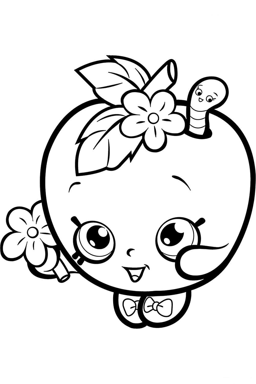 Раскраска Шопкинс Яблоко Цветочек - распечатать бесплатно