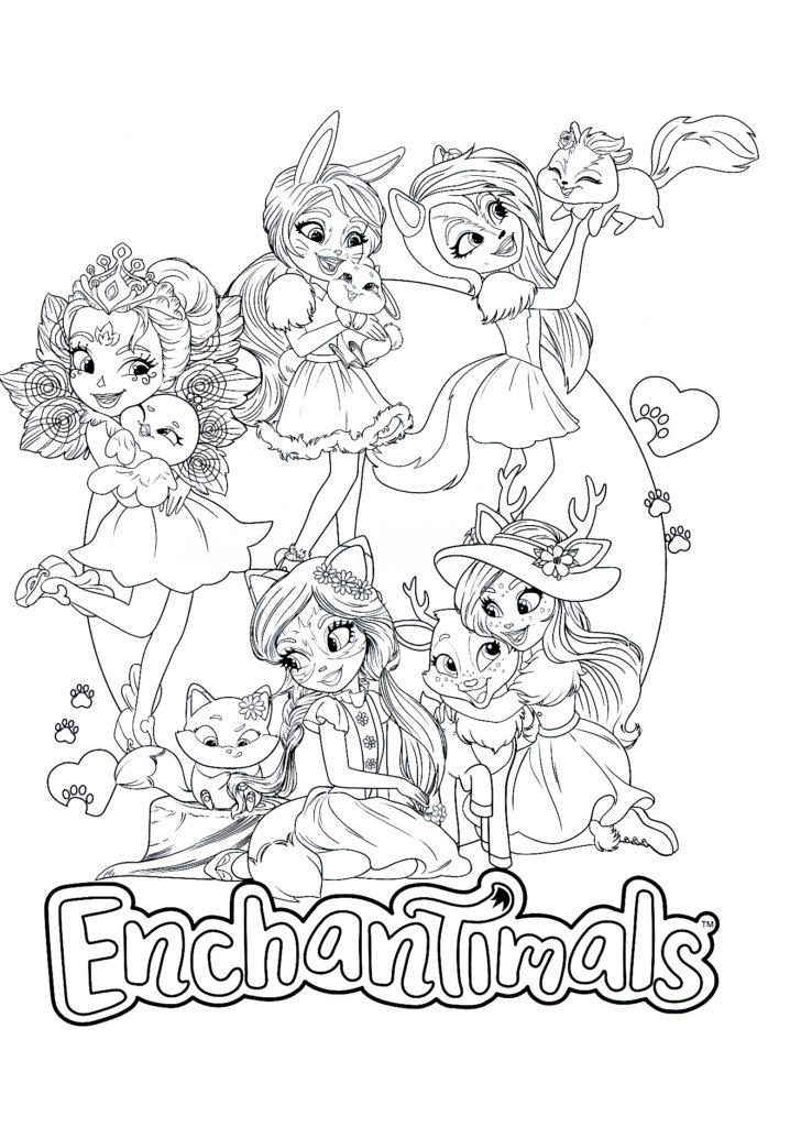 Раскраска Энчантималс Главные героини - распечатать бесплатно