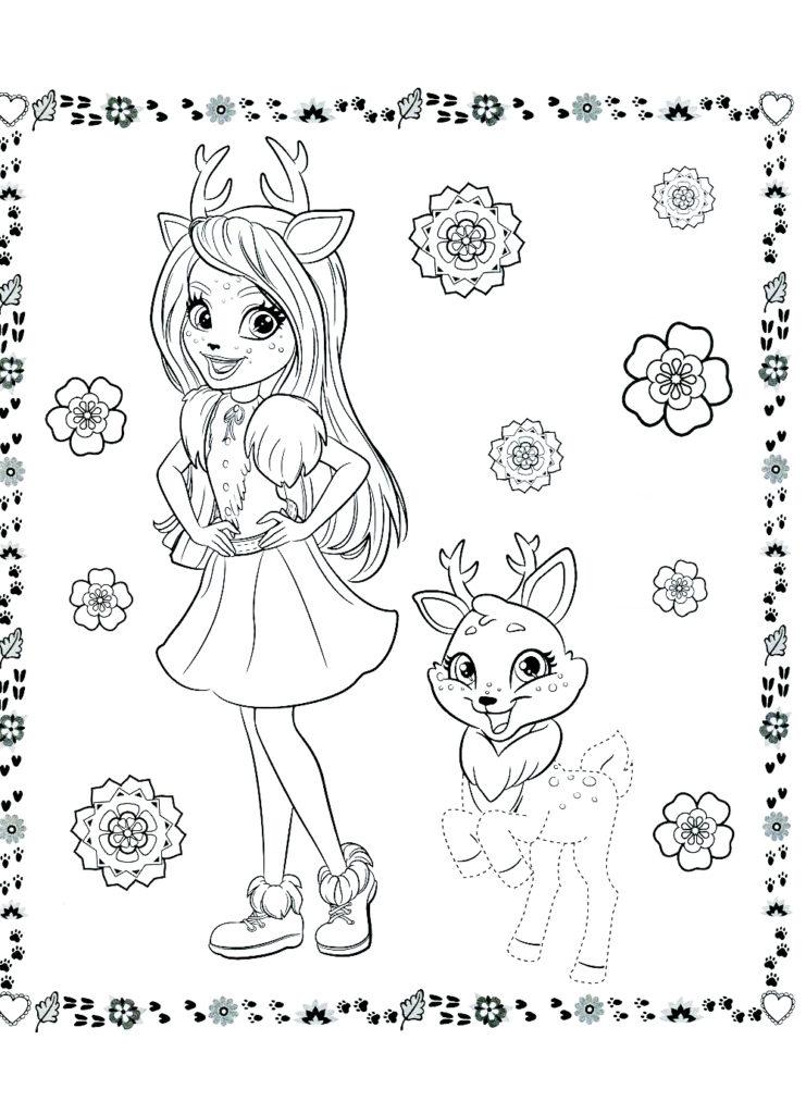 Раскраска Энчантималс для девочек - распечатать бесплатно