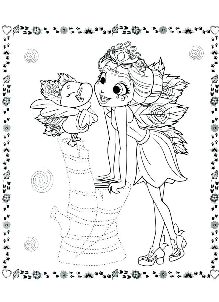 Раскраска Энчантималс Пэттерина и её павлинчик ...