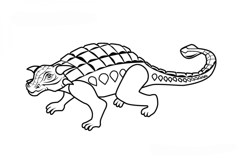 Раскраска Динозавр Анкилозавр - распечатать бесплатно