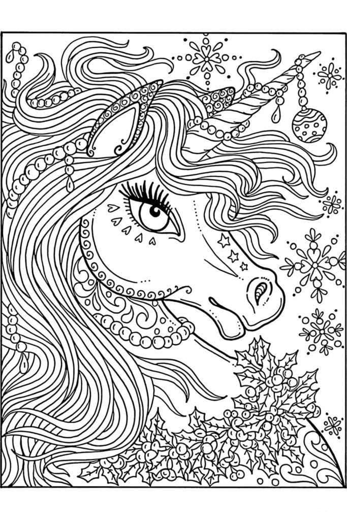 Раскраска для девочек Антистресс голова единорога ...