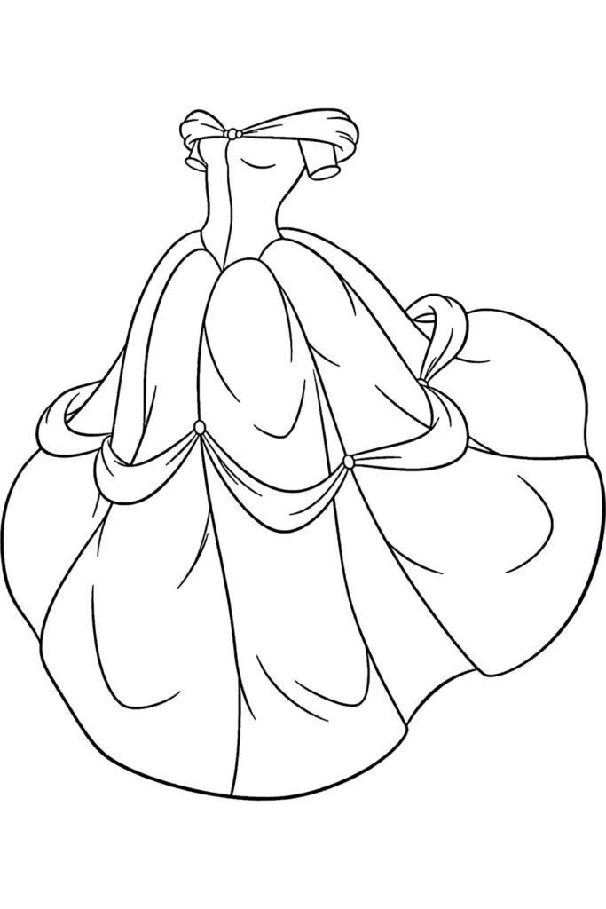Раскраска Бальное платье - распечатать бесплатно