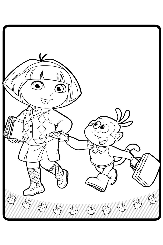 Раскраска Даша путешественница идёт в школу - распечатать ...