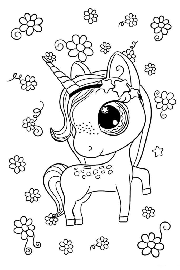 Раскраска для девочек Единорог и цветочки - распечатать ...