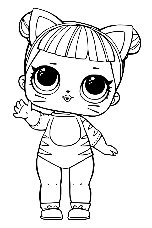 Раскраска ЛОЛ куколка Котенок - распечатать бесплатно