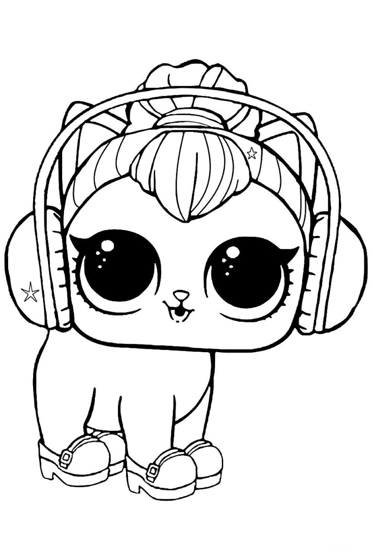 Раскраска ЛОЛ питомец котенок Китти - распечатать и ...