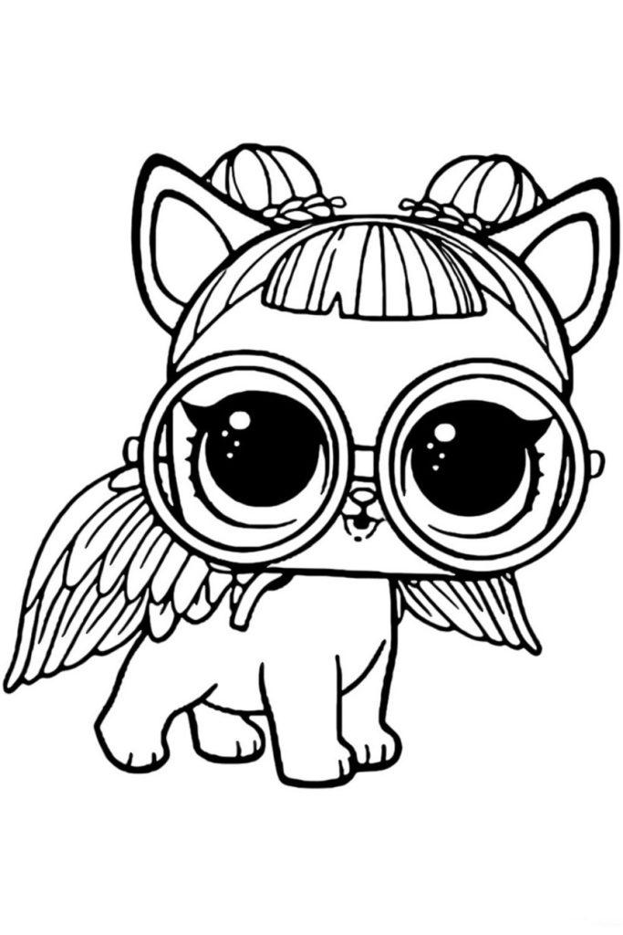 Раскраска ЛОЛ питомец щенок Сахарок - распечатать бесплатно