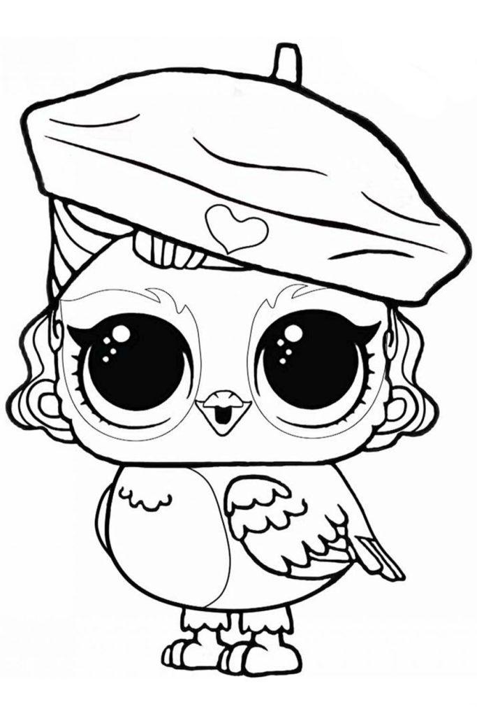 Раскраска ЛОЛ питомец совушка Ангелочек - распечатать и ...
