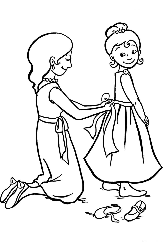 рисунок мама и дочь раскраска знаменательный день