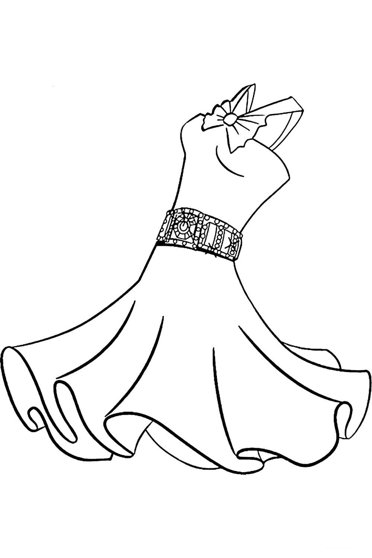 Раскраска Платье для танцев - распечатать бесплатно