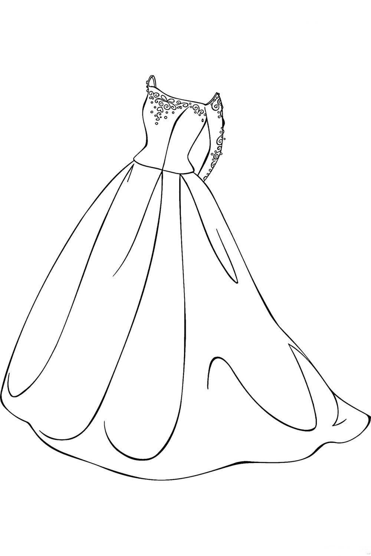 Раскраска Платье с длинными рукавами - распечатать бесплатно