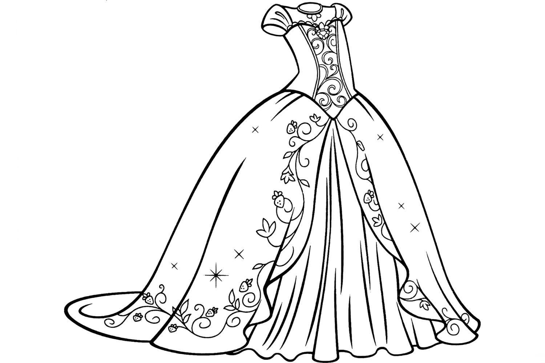 раскраска свадебное платье распечатать