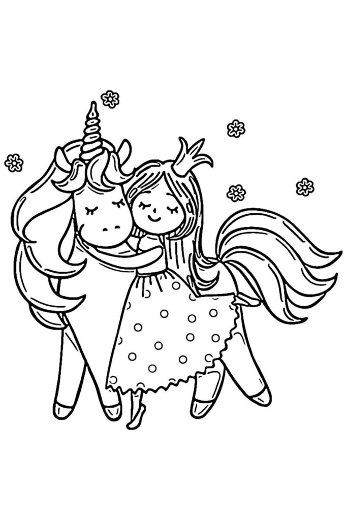 Раскраска для девочек Принцесса обнимает единорога ...