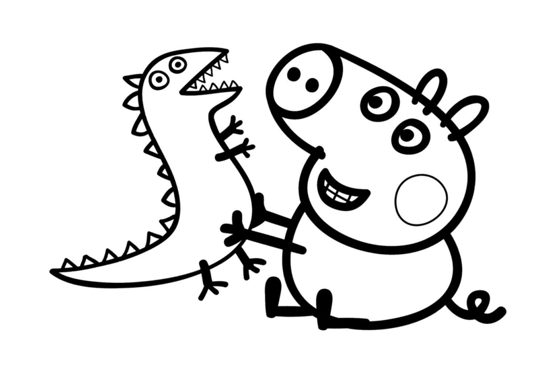Раскраска Свинка Пеппа Джордж и динозаврик - распечатать ...