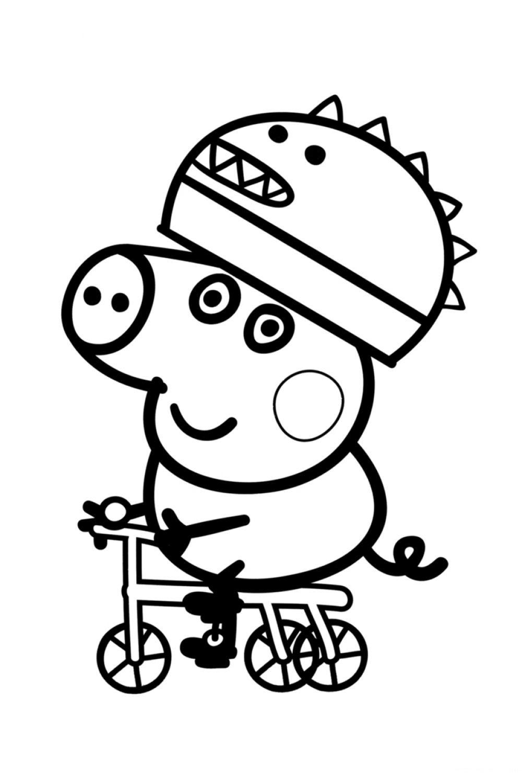 Раскраска Свинка Пеппа Джордж на велосипеде - распечатать ...