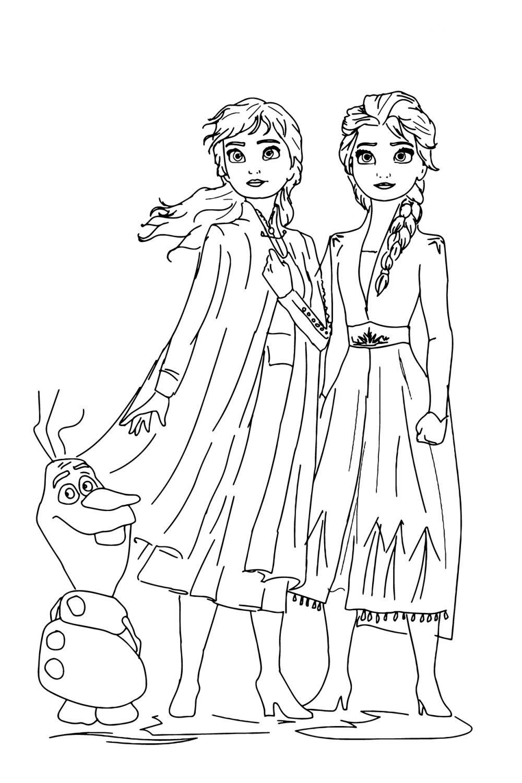 Раскраска Холодное сердце 2 Эльза, Анна, Олаф ...