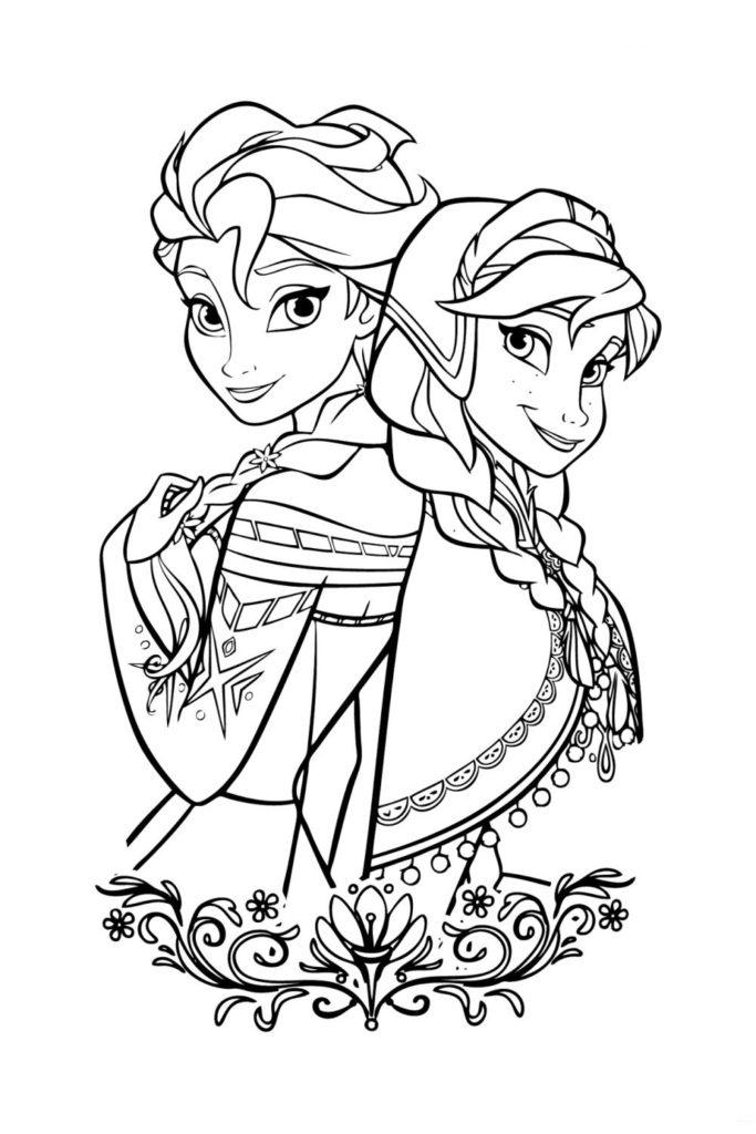 Раскраска Эльза и Анна из Холодного сердца - распечатать ...