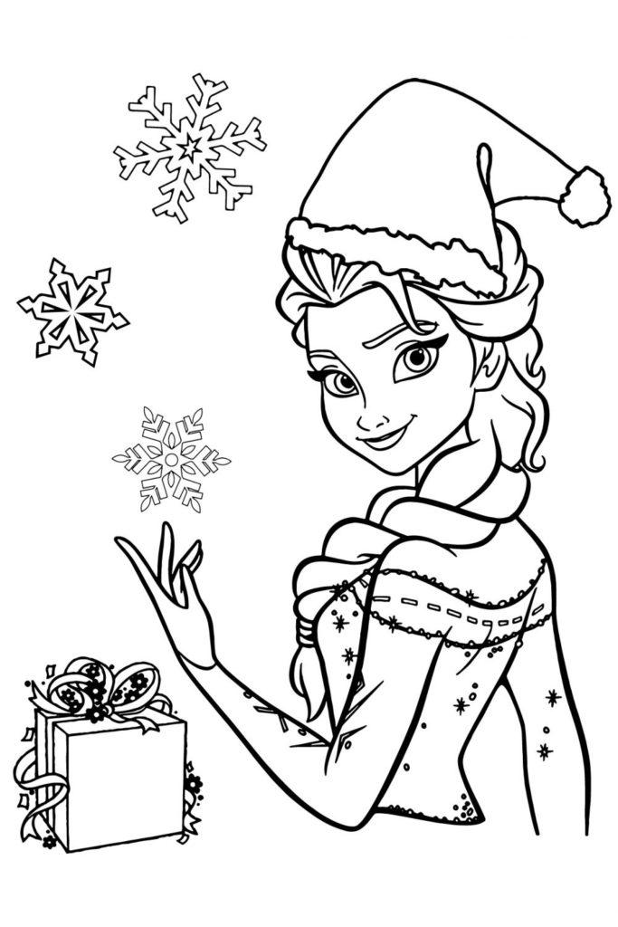 Раскраска Холодное сердце 2 Эльза и снежинки - распечатать ...