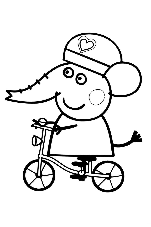 Раскраска Свинка Пеппа Эмили на велосипеде - распечатать ...